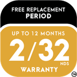Accelera Free Replacement Period Up to 12 Months or the First 2/32nds Warranty Icon