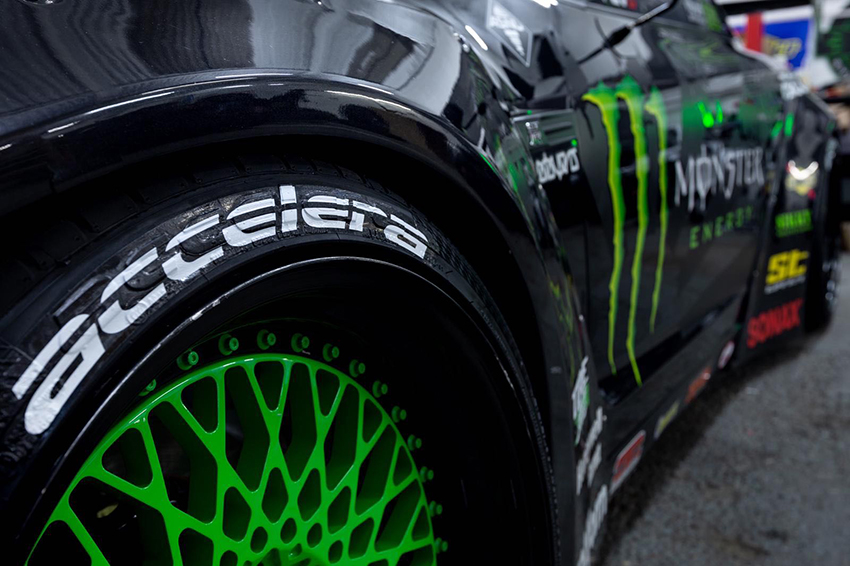 Accelera Sponsored Driver Baggsy's Nissan GTR with PHI R with neon green wheels